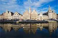Reflection of waterfront town houses, Ghent, Flanders, Belgium, Europe Stock Photo - Premium Rights-Managednull, Code: 841-03868392