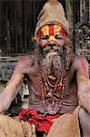 Portrait of Sadhu, Pashupatinath temple, UNESCO World Heritage Site, Kathmandu, Nepal, Asia