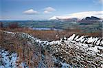 Snow dusted dry stone wall on the Allt yr Esgair looking towards Llangorse Lake and the Black Mountains, Brecon Beacons National Park, Powys, Wales, United Kingdom, Europe