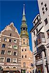 St. Peters church and gothic houses at the Latvian Riflemen Square (Latviesu strelnieku laukums), Riga, Latvia, Baltic States, Europe Stock Photo - Premium Rights-Managed, Artist: Robert Harding Images, Code: 841-03871190