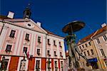 Fountain in front of the town hall on the Market Square (Raekoja Plats) in Tartu, Estonia, Baltic States. Europe Stock Photo - Premium Rights-Managed, Artist: Robert Harding Images, Code: 841-03871245