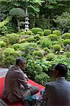 Visitors relaxing at a Zen meditation garden at Sanzenin Temple in Ohara, Kyoto, Japan, Asia Stock Photo - Premium Rights-Managed, Artist: Robert Harding Images, Code: 841-03871356