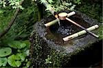 A tsukubai (stone water basin) with bamboo ladle in a garden at Sanzenin Temple in Ohara, Kyoto, Japan, Asia Stock Photo - Premium Rights-Managed, Artist: Robert Harding Images, Code: 841-03871357