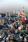 Aerial view of metropolitan Tokyo and Tokyo Tower from atop the Mori Tower at Roppongi Hills, Tokyo, Japan, Asia Stock Photo - Premium Rights-Managed, Artist: Robert Harding Images, Code: 841-03871377