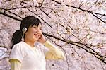 Teenage Girl Enjoying Music Under Cherry Blossom Tree Stock Photo - Premium Rights-Managed, Artist: Aflo Relax, Code: 859-03884741