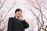 High School Girl Listening To Phone Under Blooming Tree Stock Photo - Premium Rights-Managed, Artist: Aflo Relax, Code: 859-03884977