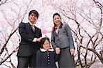 Group Portrait Of Japanese Family Under Blooming Cherry Trees Stock Photo - Premium Rights-Managed, Artist: Aflo Relax, Code: 859-03884995