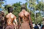 Australia, Queensland, Laura.  Indigenous dancers with handprint decorations on back. Stock Photo - Premium Rights-Managed, Artist: AWL Images, Code: 862-03887278