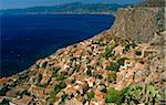 Greece, Peloponnese, Laconia, Monemvasia. Spectacular views of the Lower Town are had from the Upper Town of Monemvasia, an ancient coastal fortress city once ruled by the Byzantine and Venetian empires.