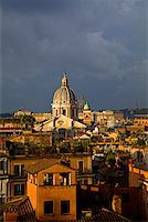 Rome, Italy; A narrowed overview of rooftops with the St.Peter's Basilica Cupola on the horizon Stock Photo - Premium Rights-Managednull, Code: 862-03888634