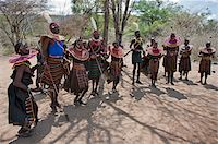 Pokot men, women, boys and girls dancing to celebrate an Atelo ceremony. The Pokot are pastoralists speaking a Southern Nilotic language. Stock Photo - Premium Rights-Managednull, Code: 862-03888691