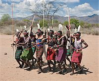 Pokot warriors celebrate an Atelo ceremony. The Pokot are pastoralists speaking a Southern Nilotic language. Stock Photo - Premium Rights-Managednull, Code: 862-03888694