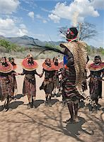 A Pokot warrior wearing a cheetah skin jumps high in the air surrounded by  young women to celebrate an Atelo ceremony. The Pokot are pastoralists speaking a Southern Nilotic language. Stock Photo - Premium Rights-Managednull, Code: 862-03888696