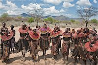 Pokot women and girls dancing to celebrate an Atelo ceremony. The Pokot are pastoralists speaking a Southern Nilotic language. Stock Photo - Premium Rights-Managednull, Code: 862-03888697