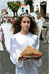Girl in the Holy Christ procession, Vila do Porto. Santa Maria, Azores islands, Portugal