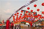 Singapore, Singapore, Marina Bay.  Chinese lanterns for River Hongbao festivities (lunar new year) with the Marina Bay Sands Hotel in the background. Stock Photo - Premium Rights-Managed, Artist: AWL Images, Code: 862-03889594