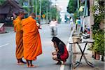 Thailand, Mae Hong Son, Mae Hong Son.  Monks on morning alms round. Stock Photo - Premium Rights-Managed, Artist: AWL Images, Code: 862-03889834