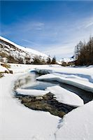 panoramic winter scene - Ice floes floating on river in snowy landscape Stock Photo - Premium Royalty-Freenull, Code: 632-03897795