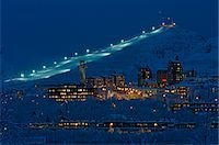 small town snow - View over a town by night, Kiruna, Sweden. Stock Photo - Premium Royalty-Freenull, Code: 6102-03904963