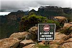 Warning sign by a canyon, South Africa. Stock Photo - Premium Royalty-Free, Artist: AlaskaStock              , Code: 6102-03905007