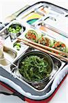Seaweed Salad, Sushi Rolls, Edamame and Snack Pack in Bento Box for Children Stock Photo - Premium Rights-Managed, Artist: Michael Alberstat, Code: 700-03907155