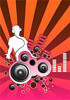 queue club - Design piece with a DJ and various musical elements including speakers. Stock Photo - Royalty-Freenull, Code: 400-03907994