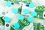 House on euro money background