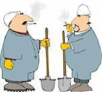 This illustration depicts two construction workers in coveralls smoking. Stock Photo - Royalty-Free, Artist: caraman, Code: 400-03909065