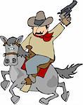 This illustration depicts a cowboy riding a horse. Stock Photo - Royalty-Free, Artist: caraman, Code: 400-03909237