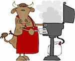 This illustration depicts a cow wearing an apron and cooking on a propane barbecue. Stock Photo - Royalty-Free, Artist: caraman, Code: 400-03909240