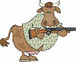 This illustration depicts a cow holding a gun and wearing a camouflage shirt. Stock Photo - Royalty-Free, Artist: caraman, Code: 400-03909259