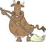 This illustration depicts a cow using a mop. Stock Photo - Royalty-Free, Artist: caraman, Code: 400-03909379