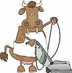 This illustration depicts a cow wearing an apron and using a vacuum cleaner. Stock Photo - Royalty-Free, Artist: caraman, Code: 400-03909380