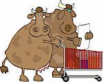 This illustration depicts a cow couple with a shopping cart. Stock Photo - Royalty-Free, Artist: caraman, Code: 400-03910030
