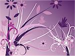 Floral image in vector format with vines and retro rings.