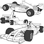 F1 auto vol.3 - Black & White detailed vector illustration. Stock Photo - Royalty-Free, Artist: derocz, Code: 400-03910832
