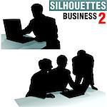 Silhouettes - Business 2 - high detailed black and white illustrations. Stock Photo - Royalty-Free, Artist: derocz, Code: 400-03910915