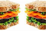 Big healthy sandwich with vegetables and meat close up on white background Stock Photo - Royalty-Free, Artist: Elenathewise, Code: 400-03911485