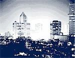 Vector halftone illustration of a city at night
