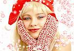 pretty girl in christmas hat with rendered snowflakes Stock Photo - Royalty-Free, Artist: dolgachov, Code: 400-03914347