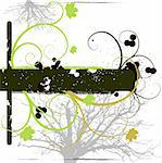 Vector - Grunge effect with copy space, vine foliage and stains.