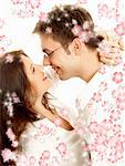 picture of sweet couple surrounded by rendered flowers Stock Photo - Royalty-Free, Artist: dolgachov, Code: 400-03914413