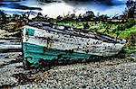 Green and White Sailing boat stranded at low tide in ocean at Vilanculos, Mozambique with artistic retouching Stock Photo - Royalty-Free, Artist: jacojvr, Code: 400-03915096