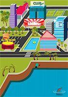 queue club - A funky virtual mini city! Stock Photo - Royalty-Freenull, Code: 400-03916360