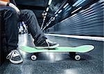 Boy at the subway station with his skateboard Stock Photo - Royalty-Free, Artist: mikdam, Code: 400-03918942