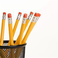 Group of pencils in a pencil holder with eraser ends up. Stock Photo - Royalty-Freenull, Code: 400-03926126
