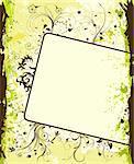 Grunge paint flower background with frame, element for design, vector illustration