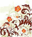 Grunge paint flower background with bud, element for design, vector illustration
