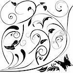 Floral elements E - popular floral segments in vector illustration