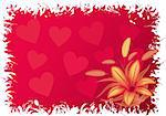 Valentines grunge background with hearts and flowers, vector illustration